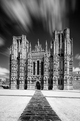Wells Cathedral (David_Baker) Tags: uk greatbritain england blackandwhite cloud motion building church architecture clouds design movement day cathedral cloudy empty religion dramatic nobody wells somerset structure infrared manmade daytime religiousbuilding