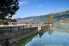 Ioannina (Ira Gelb) Tags: mountain lake landscape europe greece littleboat ioannina giannena lakereflections d80 yannena autumnlandscape