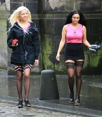 Edinburgh: Slutwalk 2011 [Glam Barbers] (chairmanblueslovakia) Tags: pink stockings scotland edinburgh royal mini skirt rainy blonde heels glam brunette tight suspenders bandage mile wedge bollard barbers peroxide slutwalk