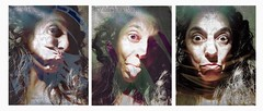 Don't Take It Seriously (Vanessa Vox) Tags: donttakeitseriously tryptich emotions feeling selfies selfportraits newspapers grimaces vanessavox triptychs