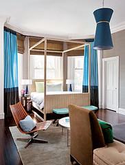Frank Roop: Blue + brown bedroom, from Elle Decor (SarahKaron) Tags: blue brown leather modern vintage design bedroom interior decorating decor taupe neutral brownandblue blueandbrown interiordesigner frankroop