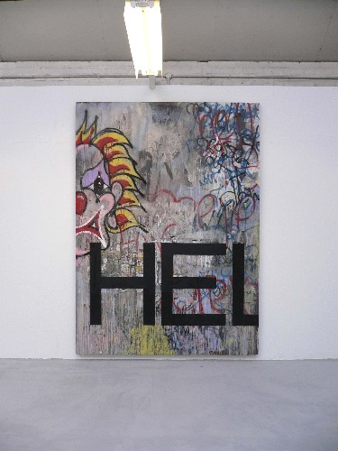 Zavier Ellis 'No Exit', 2005 Oil, house paint, spray paint on board 275x200cm