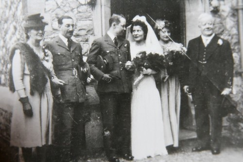 grandmom and granddad waldie at their wedding with their parents (?)