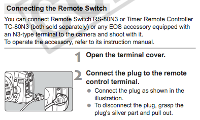 Connecting the remote switch, as explained on page 97 of the Canon EOS 40D User Manual