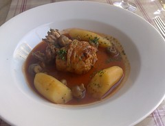 French rabbit braised with tomatoes at L'escargot Blue, Edinburgh