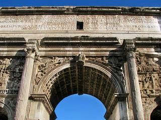 Closeup of the Arch of Septimius Severus