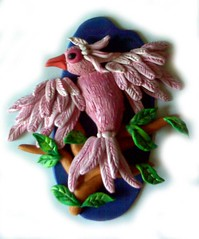 Pink Bird in Fimo
