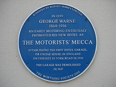 Photo of George Warne and The Motorists' Mecca blue plaque