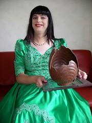 Thanks (Paula Satijn) Tags: green easter shiny dress egg skirt tgirl tranny transvestite gown satin ballgown