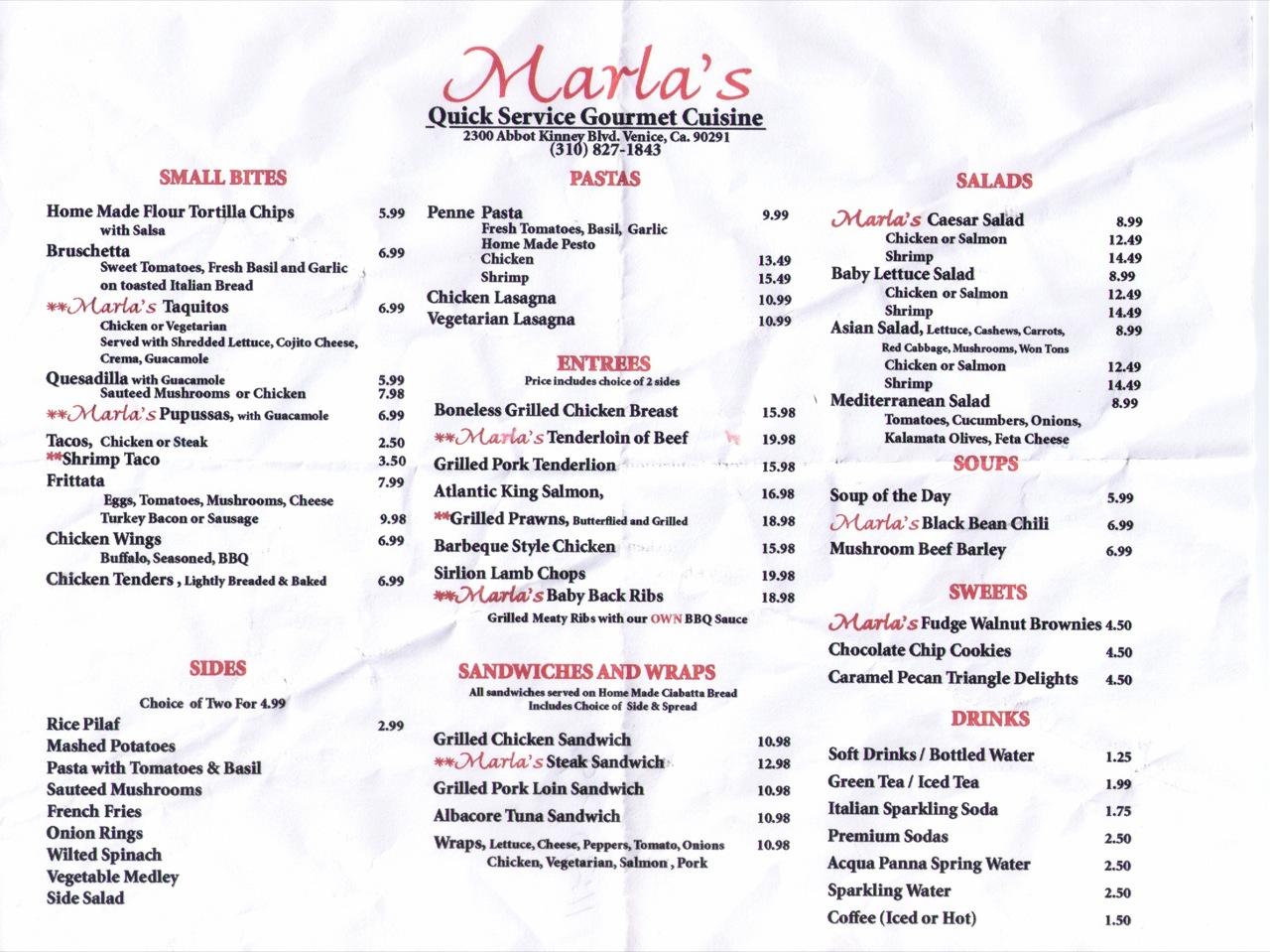 Marla's Venice Menu