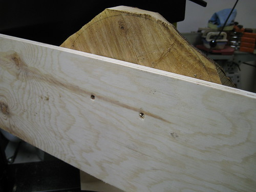 plywood screwed to bowl blank