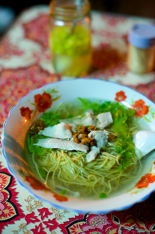 A bowl of mì trứng, wheat and egg noodles, Saigon, Vietnam