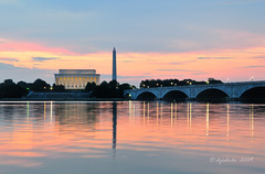 National Mall Sunrise (dyoshida) Tags: bridge usa monument arlington sunrise reflections virginia dc washington nikon lincoln nationalmall lincolnmemorial washingtonmonument memorialbridge d300 5photosaday dyoshida