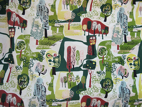 Abstract Forest Vintage Fabric