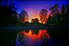 olympic sunset (Dan Anderson.) Tags: blue trees sunset red vacation sky orange sun water yellow night clouds forest river evening washington national olympic bloodred anawesomeshot artlegacy bogichiel