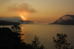 Sunrise 3 (Cariboo Finn) Tags: morning sun mist water beautiful fog clouds sunrise colours scenic cariboo firs williamslake gitzotripod nikon1870 nikond40