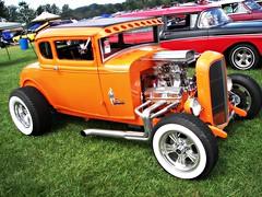 Orange 1931 Ford Coupe (osubuckialum) Tags: auto cruise blue ohio orange cars ford car modela 1931 automobile norwalk hotrod rod oh custom 31 2009 coupe carshow suede goodguys bluesuedecruise