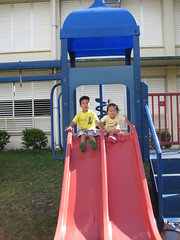 Owen and Aki on the slide