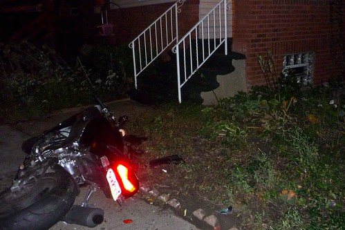 The motorcycle that crashed in front of our house.