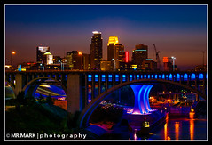 Downtown Minneapolis Skyline, Minneapolis, MN (MR MARK | photography) Tags: longexposure bridge minnesota skyline downtown mississippiriver twincities minneapolismn minneapolisskyline i35w dinkytowntrailbridge