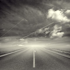 Same Old Road Again (Olli Keklinen) Tags: road old sky bw clouds photoshop square landscape vanishingpoint nikon horizon 100v10f again same senery 2009 gettyimages d300 500x500 justimagine mywinners artlibre ok6 ollik winner500 100commentgroup 20091003