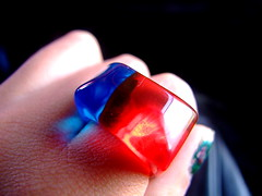 (Cat.Fat-.....) Tags: blue red colors azul rojo shiny bokeh ring plastic anillo
