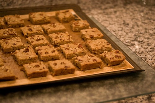 shortbread squares, ready for their second baking