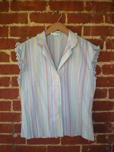 Etsy: Vintage 70's Ruffle & Stripes Blouse