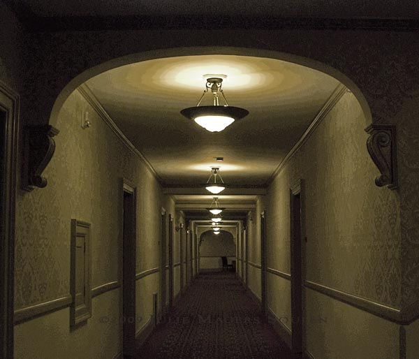 Hallway of historic Stanley Hotel of Estes Park, CO