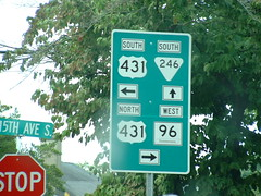 Only Franklin can be this confusing (closeup) (riffsyphon1024) Tags: franklin williamsoncounty tennessee tn roadsign greensign confusing madness shield us431 tn96 tn246 north south west 5thavenue stopsign arrow leftarrow rightarrow uparrow directions ontheroad