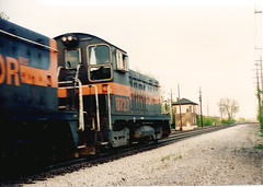 Southbound Indiana Harbor Belt Railroad transfer train. Chicago Ridge Illinois. May 1990.