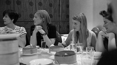 Clare, share with Kathy and Charlottte and Vix. (drewleavy) Tags: leica lunch women clare looking rangefinder sharing ddb m9 digitalrangefinder leicam9