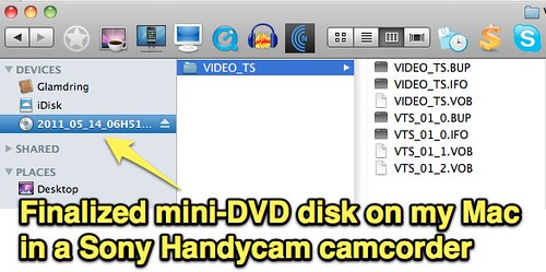 Finalized mini-DVD disk on my Mac in a Sony Handycam camcorder