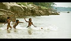 (sh@w0n) Tags: people water girl river children jump riverside dive bank bangladesh padma munshiganj