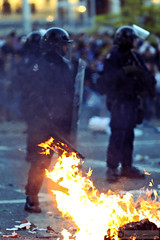 Vancouver Riot (PiscesDreamer) Tags: street city vancouver fire riot downtown britishcolumbia flames burning flame burn vandalism bostonbruins arson hooligans riotpolice riotsquad vancouvercanucks hamiltonstreet vpd vancouverpolicedepartment stanleycupplayoffs westgeorgiastreet crowdcontrolunit