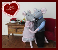 Happy Valentine's Day! (Foxy Belle) Tags: dollhouse miniature valentine cake love valentines day food colonial american early doll mouse mice hardwood floor diorama popsicle stick craft diy paneling wall