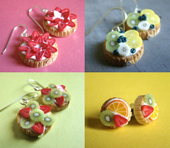 Earrings Miniature Fruit Tart Collection (PetitPlat - Stephanie Kilgast) Tags: fruits cake fruit circle pie strawberry colorful jewelry polymerclay fimo round minifood kiwi tart tarte fraise minis miniaturefood tartelette petitplat