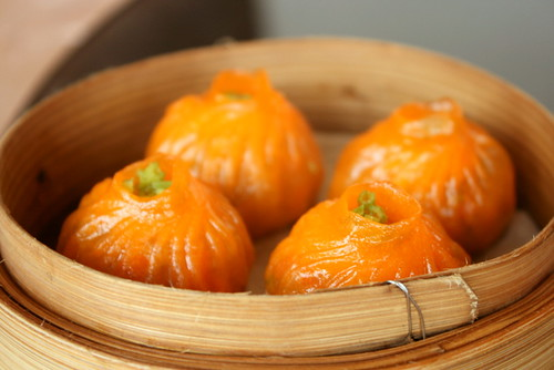 Steamed vegetarian dumplings stuffed with water chestnuts and mushrooms (S3.90 for 3 pieces)