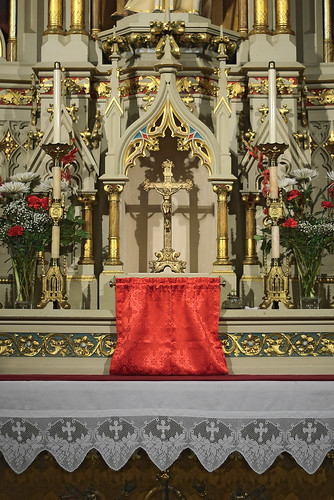 Saint Francis de Sales Oratory, in Saint Louis, Missouri, USA - Altar of Saint Joseph, decorated for Pentecost