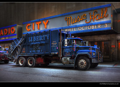 Liberty Dumper Truck - Radio City, NYC NY USA (lyon photography) Tags: road street nyc newyork liberty evening lyon icon trucks essence typical visual iconic bigapple hdr radiocity retouched symbolic definitive thecitythatneversleeps 12mp jameslyon flickraward wwwlyonphotographycouk expressyourselfaward