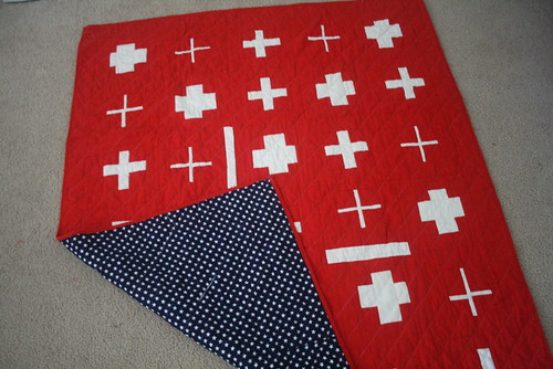 Swiss Cross Quilt with Navy Backing