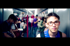 New Glasses (TGKW) Tags: boy portrait people public train self underground hongkong glasses transport tommy wan mtr 0334 gaken tgkw