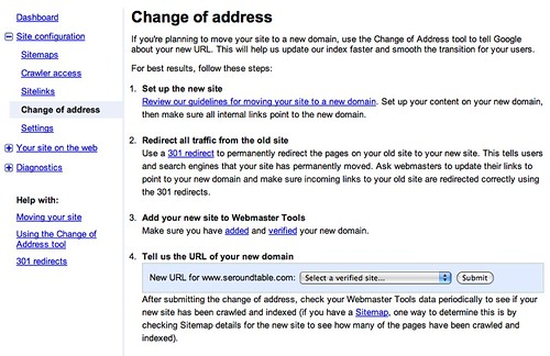 Google Webmaster Tools Change of Address