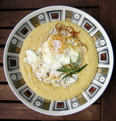 southern grits topped with fried egg & rosemary (you can count on me) Tags: breakfast vintage corn egg bowl southern rosemary grits