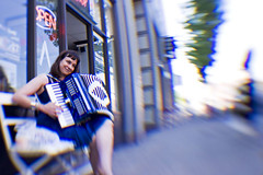 Photo-A-Day Accordion Player (keri_friedman) Tags: photoaday 365 lensbaby superwide lensbabies accordion accordianplayer streetmusic streetmusician portland urban oregon