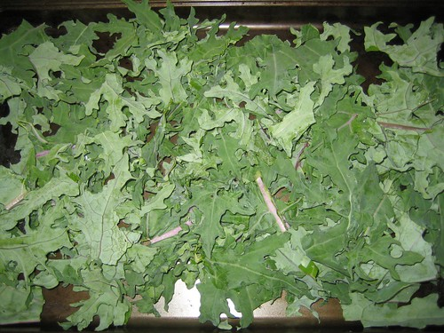 prepping kale for chips