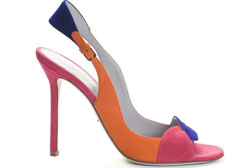 Suede Tricolor Slingback Sandal