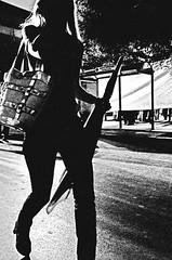 (Michalis.. [..]) Tags: light shadow blackandwhite woman contrast umbrella photoshop bag greek nikon legs hellas greece bnw larissa lightroom d300  thessaly           artisawoman
