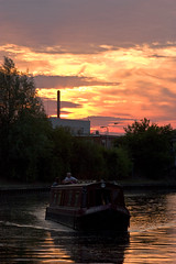 River Lea Sunset (Dkillock) Tags: uk sunset chimney england reflection industry clouds canon river boat canal factory longboat barge narrowboat hertfordshire hoddesdon canalboat waterways riverlea ryehouse leanavigation 450d 15challengeswinner 55250mmefsisf456