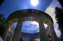 The Light From Above (kroess.photo.) Tags: light summer sky sunlight color monument cemetery buffalo rays pillars forestlawn
